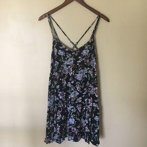 Crisscross backed floral dress